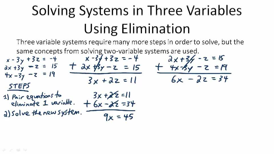 Solving Systems in Three Variables Using Elimination - Overview