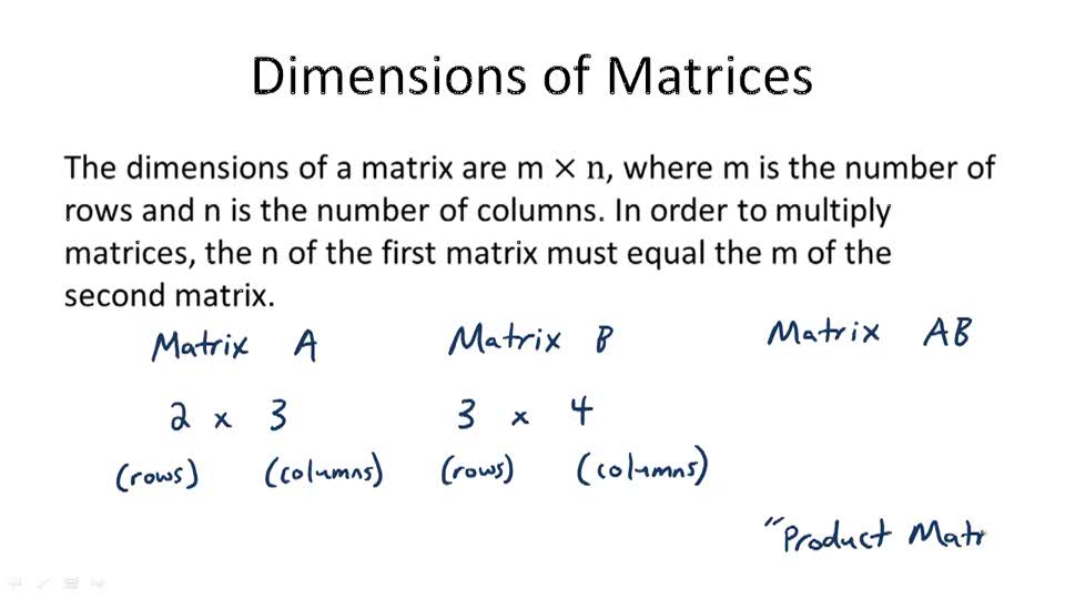 Dimensions of Matrices - Overview