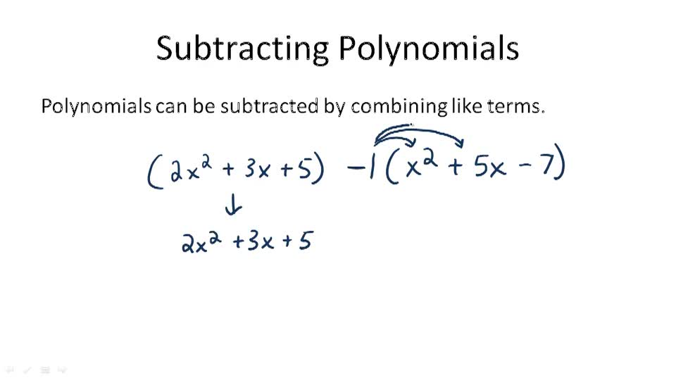 Subtracting Polynomials - Overview