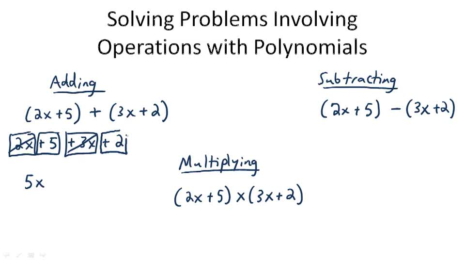 Solving Problems Involving Operations with Polynomials - Overview