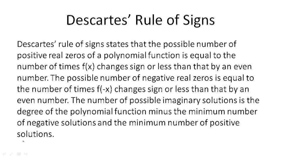Descartes' Rule of Signs - Overview