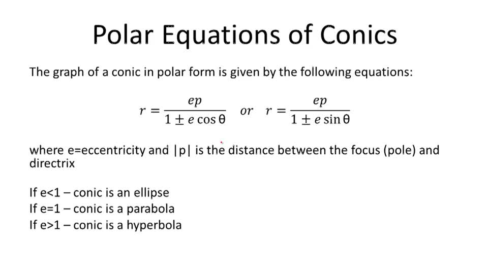 Polar Equations of Conics - Overview
