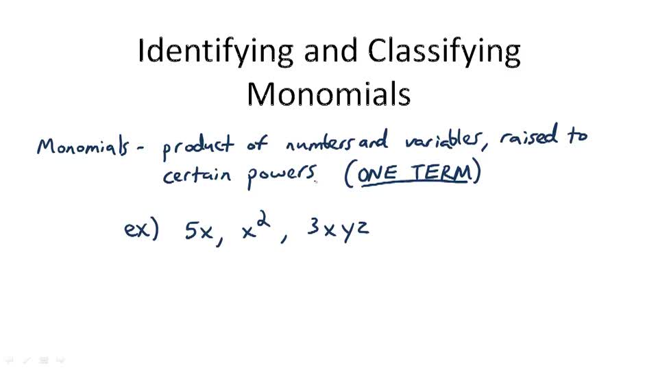 Identifying and Classifying Monomials - Overview