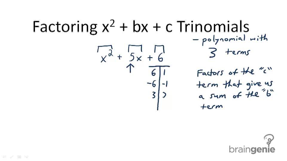 Factoring x^2 + bx + c Trinomials - Overview