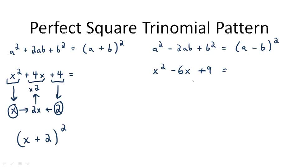 Perfect Square Trinomial Pattern - Overview