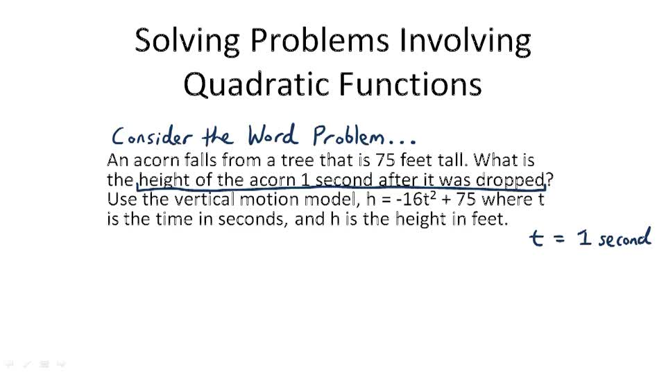 Solving Problems Involving Quadratic Functions - Overview