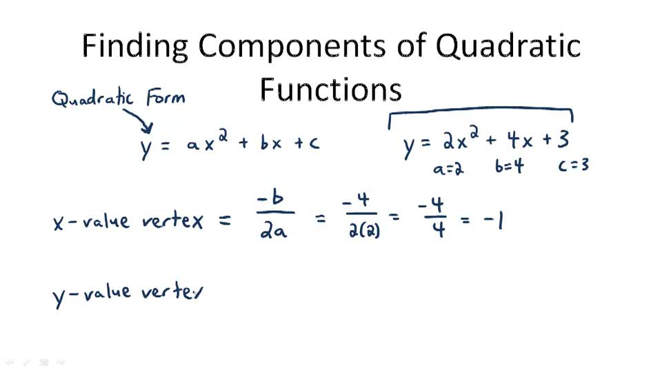 Finding Components of Quadratic Functions - Overview