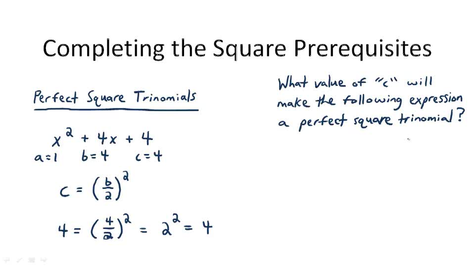 Completing the Square Prerequisites - Overview