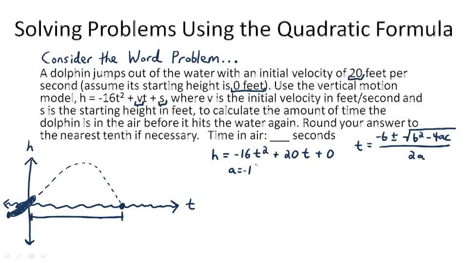 The Quadratic Formula Video Algebra – Quadratic Function Word Problems Worksheet
