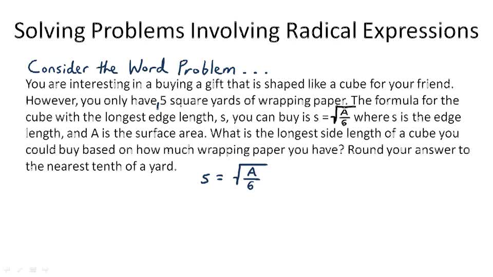 Solving Problems Involving Radical Expressions - Overview