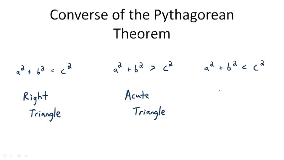 Pythagorean Theorem And Its Converse  Video   Algebra  Ck