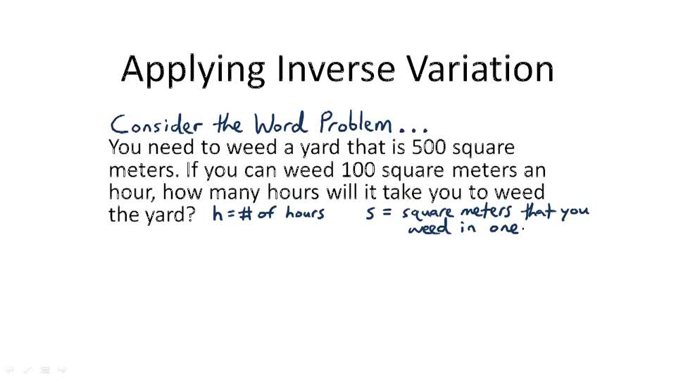Applying Inverse Variation - Overview
