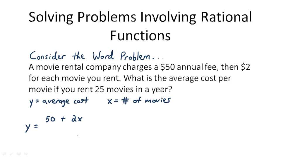 Solving Problems Involving Rational Functions - Overview