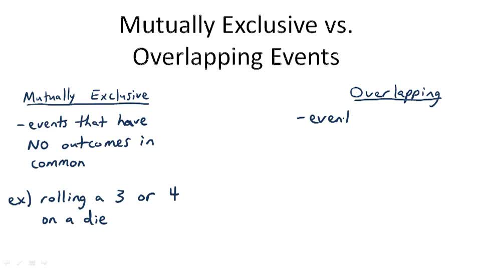 Mutually Exclusive v. Overlapping Events - Overview