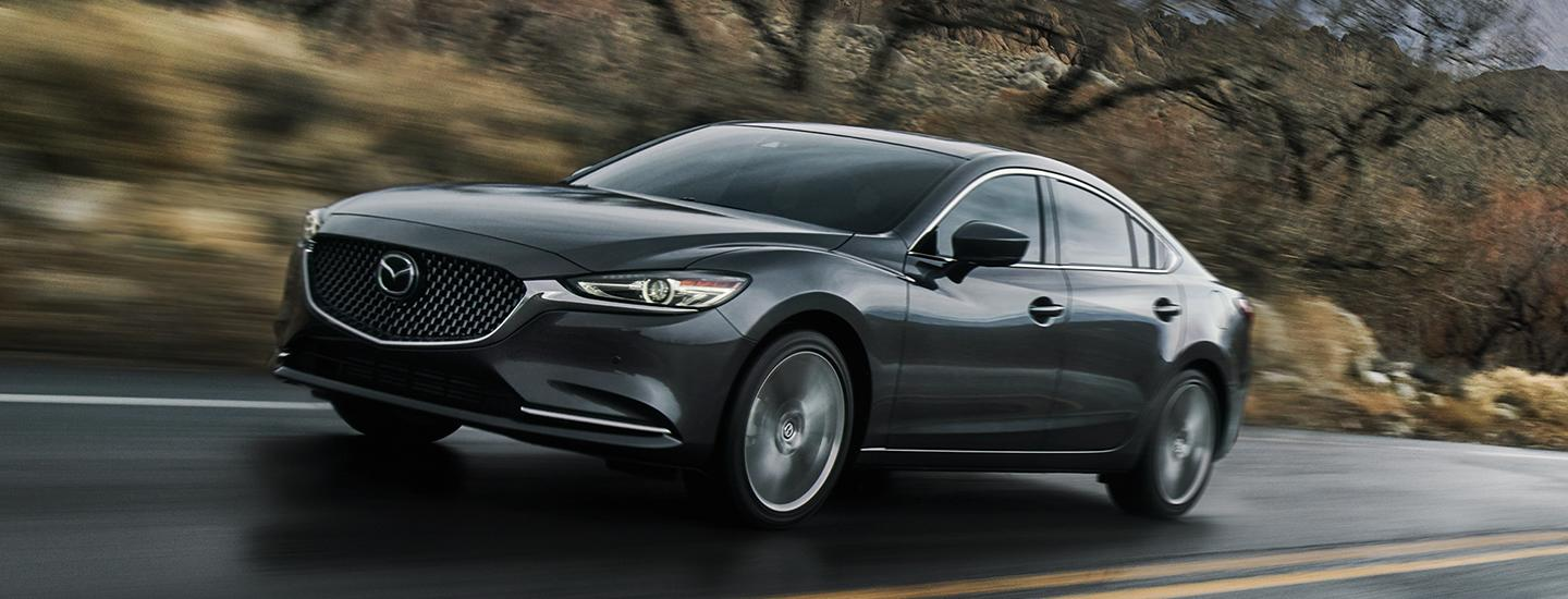 Front side view of the 2020 Mazda6 in motion