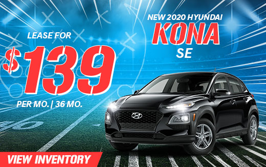 2020 Hyundai Kona - Lease For $139 per month for 36 months.