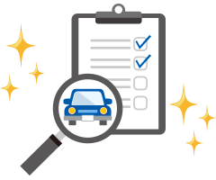 Magnifier on car with check box clipboard