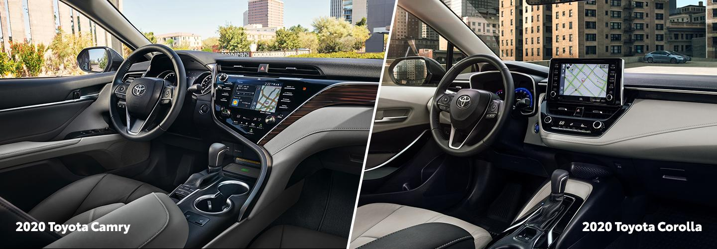 Split image of the 2020 Toyota Camry and the 2020 Toyota Corolla interiors