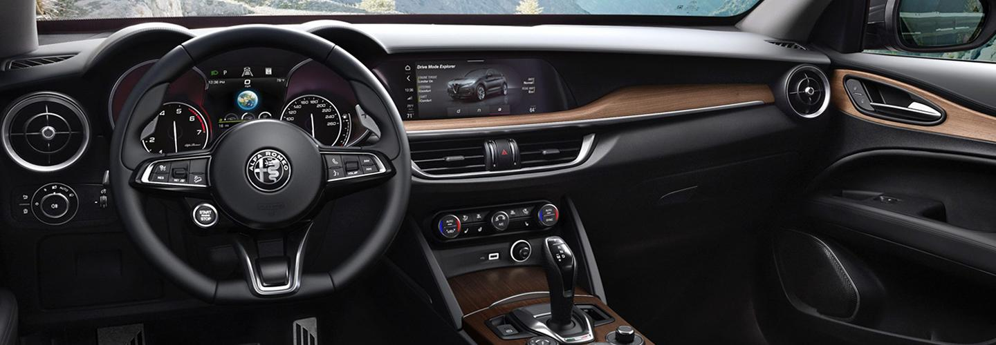 Steering wheel and front seat in new Stelvio