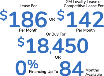 Lease For $186 Per Month Or GM Loyalty Lease or Competitive Lease For $142 Per Month Or Buy For $18,450 Or 0% Financing For Up To 84 Months Available