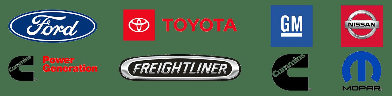 Ford Toyota GMFreightliner Mopar Cummins Engines Nissan Cummins Power Generation Logos