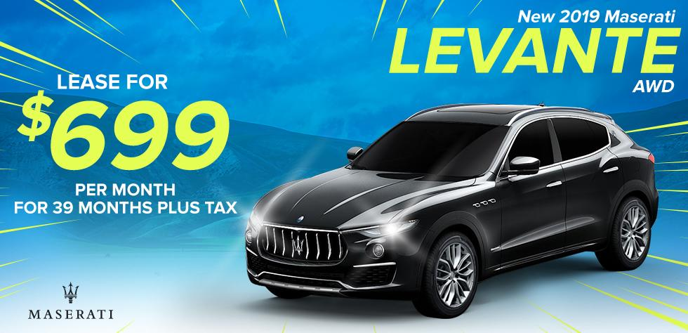 New 2019 Maserati Levante AWD - Lease for $679/ Month for 39 Months plus tax