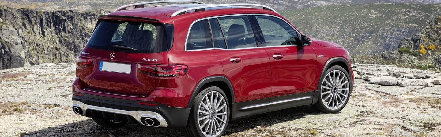 Rear view of a red 2020 Mercedes-Benz GLB