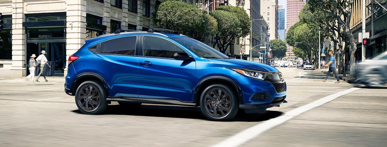 2021 Aegean Blue Metallic Honda HR-V in motion