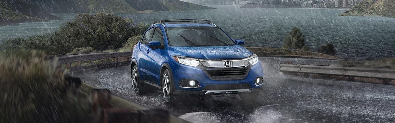 2021 Honda Aegean Blue Metallic HR-V driving in the rain