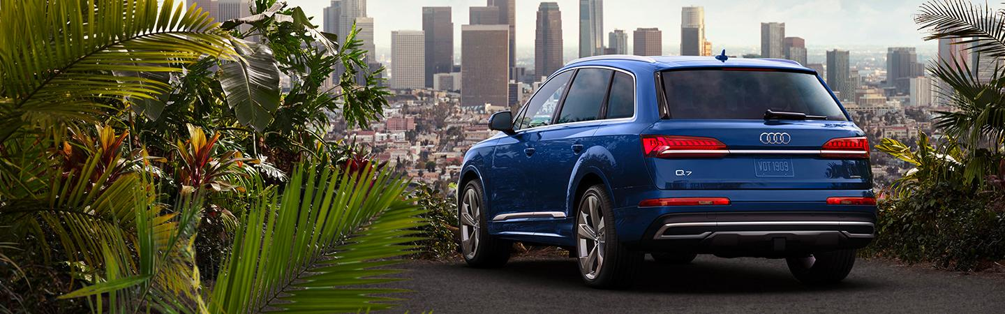 Blue Q7 overlooking the city