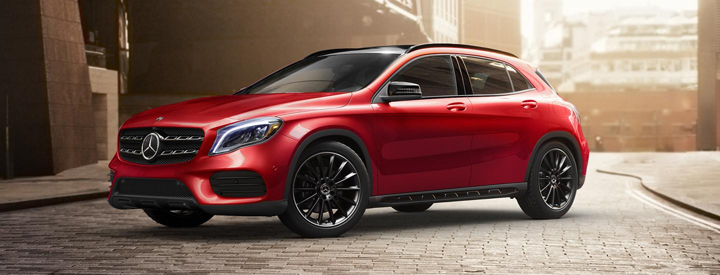 Red 2020 Mercedes-Benz GLA parked