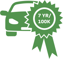 7 year/ 100k warranty badge on car