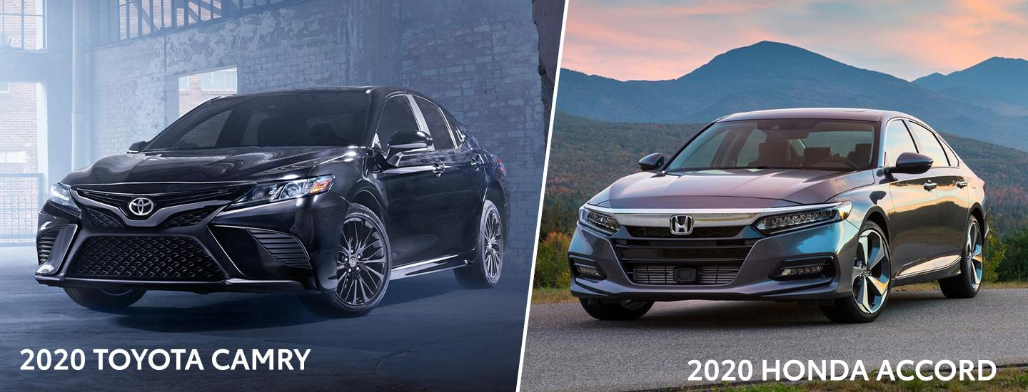 Split image of the 2020 Toyota Camry and the 2020 Honda Accord exteriors
