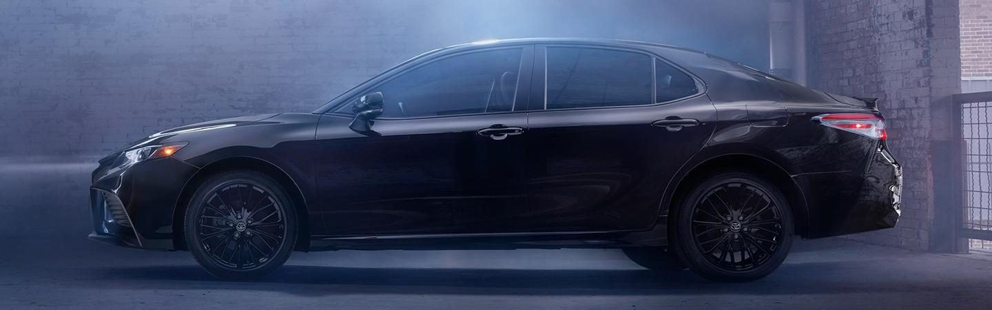 Side view of a black 2020 Toyota Camry