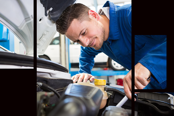 Service technician performing auto repair in Tracy, CA