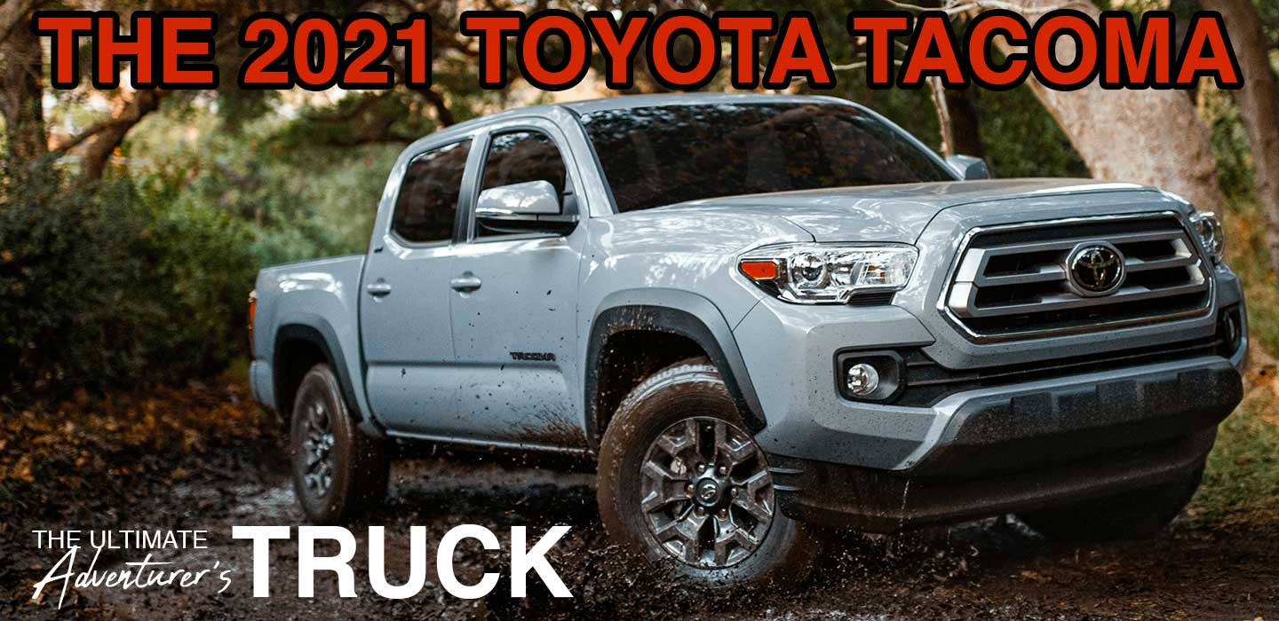 Toyota Tacoma front view riding on dirt road