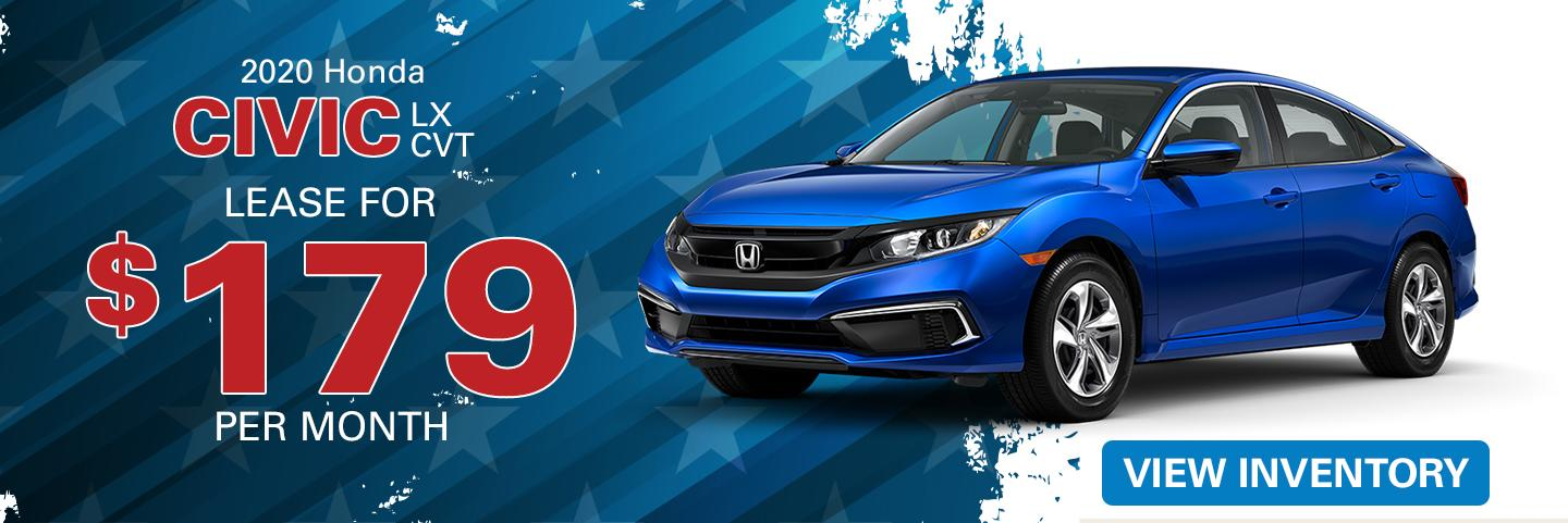 2020 Honda Civic lease for $179 per month