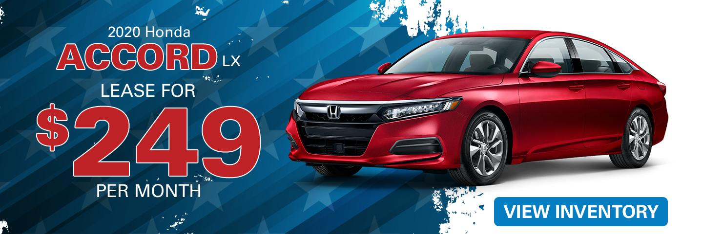 2020 Honda Accord lease for $249 per month