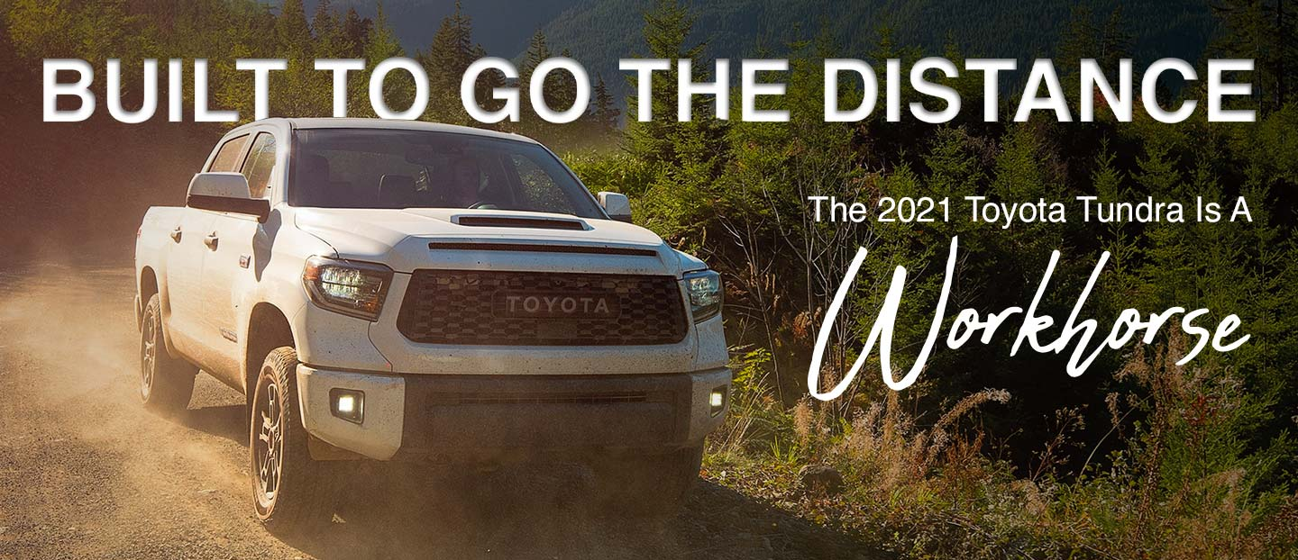 Toyota Tundra front view riding on dirt road