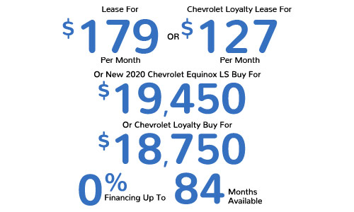 Lease For $179 Per Mo. Or Chevrolet Loyalty Lease For $127 Per Mo. Or New 2021 Chevrolet Equinox LS Buy For $19,450 Or Chevrolet Loyalty Buy For $18,750, 0% Financing Up To 84 Mos. Available