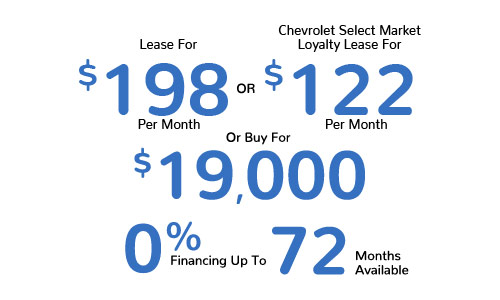 Lease For $198 Per Mo. Or Chevrolet Select Market Lease For $122 Per Mo. Or Buy For $19,000, 0% Financing Up To 72 Mos. Available