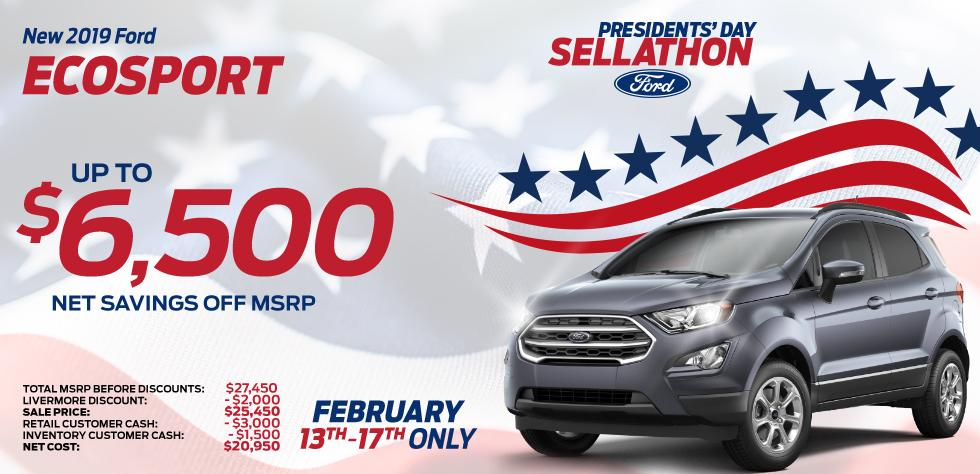 New 2019 Ford Ecosport - Up To $6,500 net savings off MSRP