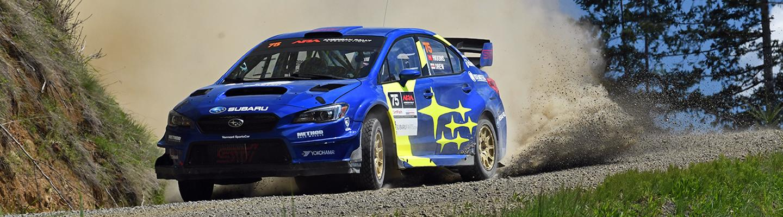 Subaru Rally Car on Dirt Track