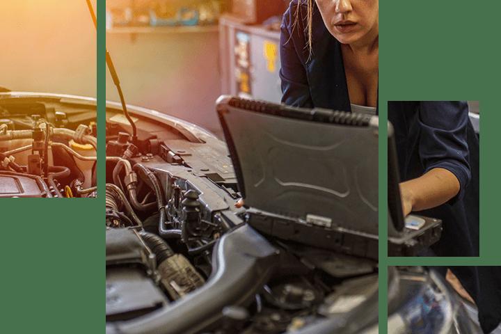 Mechanic diagnosing a car's problem