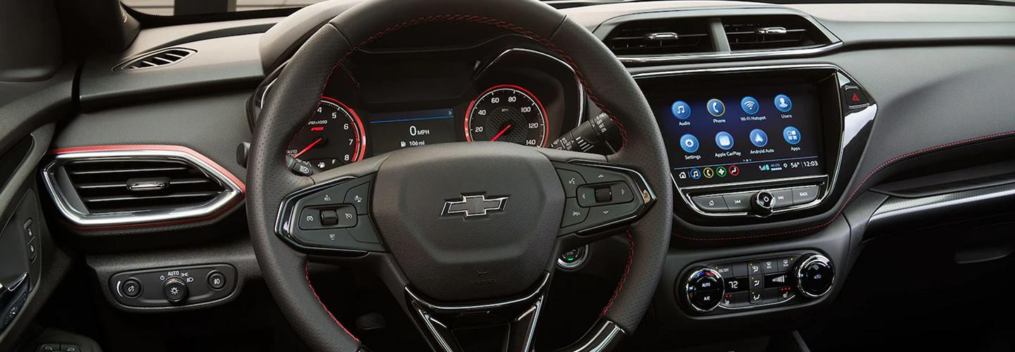 Interior view of a Chevy Trailblazer's dashboard and infotainment system