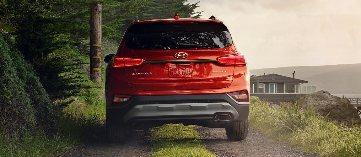 Rear view of red Santa Fe