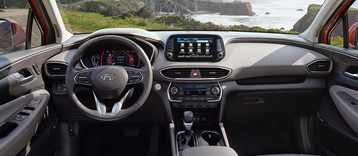 Front seats and steering wheel in new Santa Fe