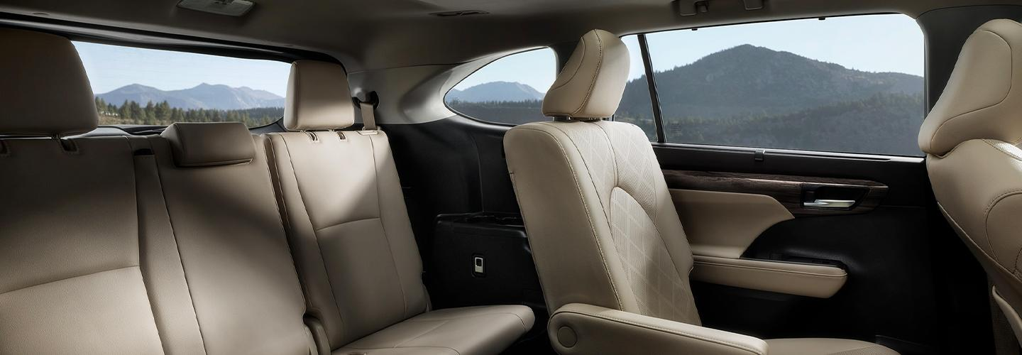 Picture of the interior of the 2020 Toyota Highlander for sale at our Toyota dealership