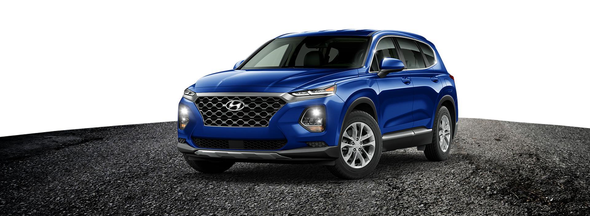 Royal blue Hyundai Santa Fe