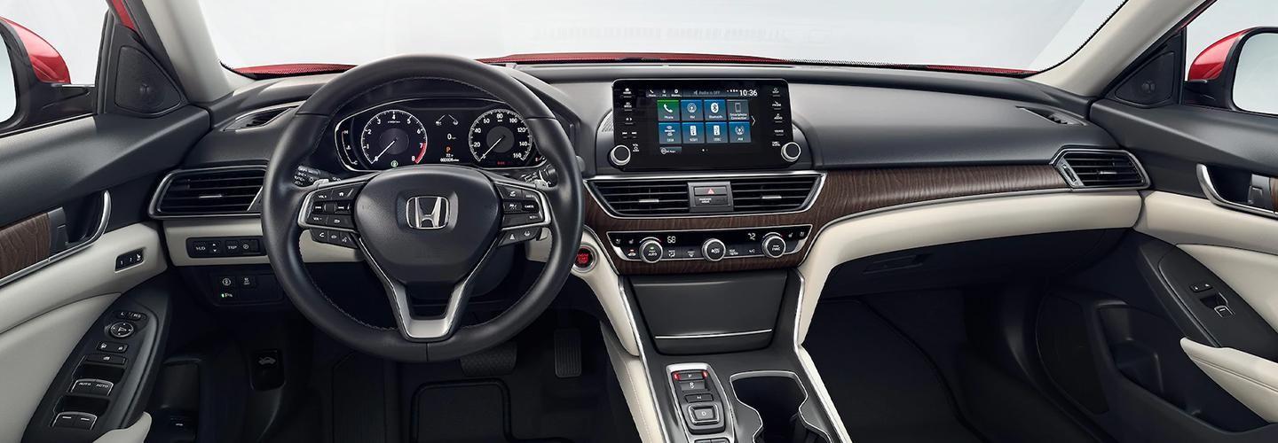 Driver's side view of a Honda Accord's dashboard and interior